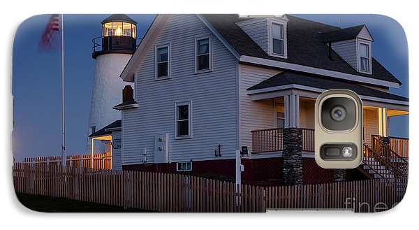 Galaxy Case featuring the photograph Full Moon Rise At Pemaquid Light, Bristol, Maine -150858 by John Bald