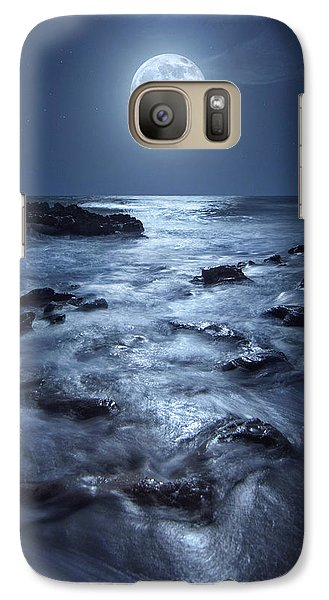 Galaxy Case featuring the photograph Full Moon Rising Over Coral Cove Beach In Jupiter, Florida by Justin Kelefas