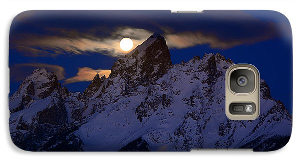 Full Moon Sets Over The Grand Teton Galaxy S7 Case