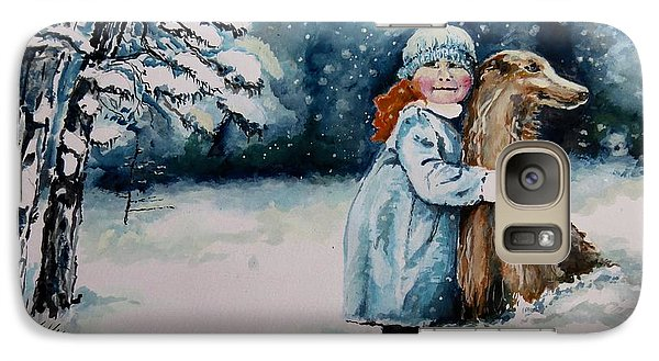Galaxy Case featuring the painting Fun In The Snow by Geni Gorani
