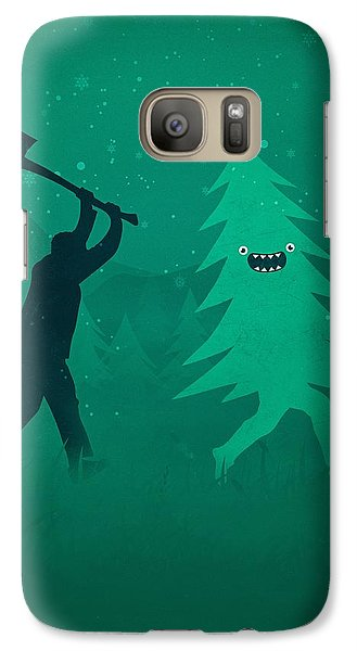 Funny Cartoon Christmas Tree Is Chased By Lumberjack Run Forrest Run Galaxy S7 Case