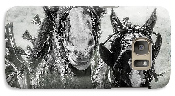 Galaxy Case featuring the photograph Funny Draft Horses by Mary Hone
