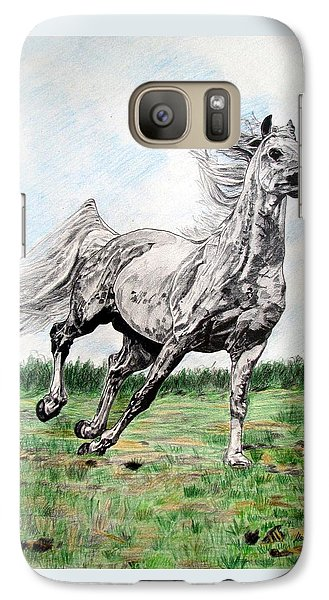 Galaxy Case featuring the drawing Galloping Arab Horse by Melita Safran