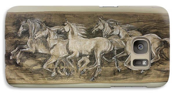 Galaxy Case featuring the drawing Galloping Stallions by Debora Cardaci