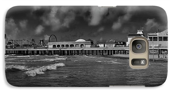 Galaxy Case featuring the photograph Galveston Pleasure Pier Black And White by Joshua House