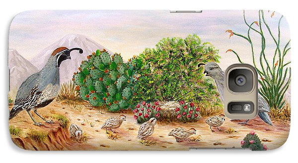 Galaxy Case featuring the painting Gambel Quails Day In The Life by Judy Filarecki