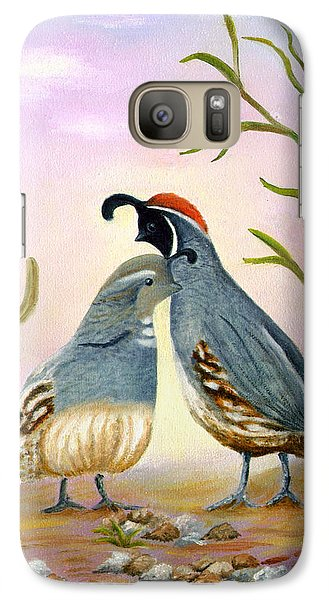 Galaxy Case featuring the painting Gambel Quails Friends Forever by Judy Filarecki