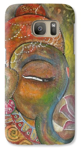 Galaxy Case featuring the painting Ganesha With A Pink Lotus by Prerna Poojara