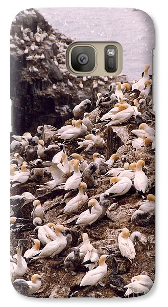 Galaxy Case featuring the photograph Gannet Cliffs by Mary Mikawoz