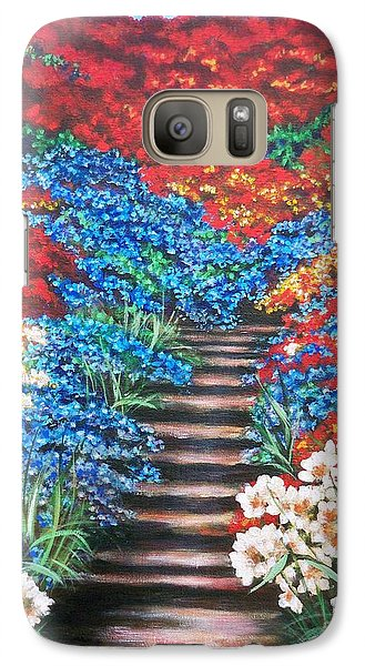 Galaxy Case featuring the painting Garden Cascade by Sigrid Tune