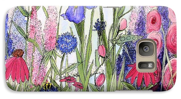 Galaxy Case featuring the painting Garden Cottage Iris And Hollyhock by Laurie Rohner
