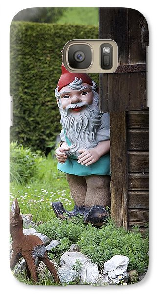 Galaxy Case featuring the photograph Garden Gnome And Deer by Colleen Williams