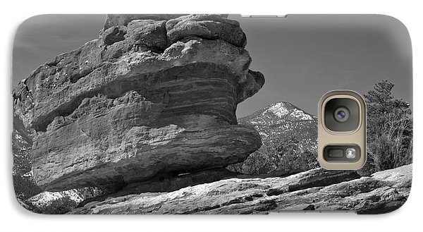 Galaxy Case featuring the photograph Garden Of The Gods Balanced Rock Black And White by Adam Jewell