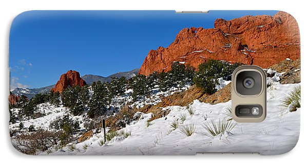 Galaxy Case featuring the photograph Garden Of The Gods Snowy Blue Sky Panorama by Adam Jewell