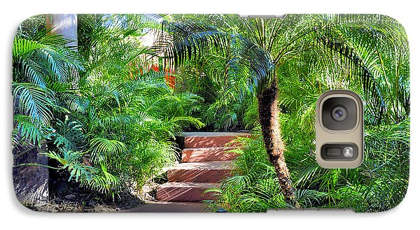 Galaxy Case featuring the photograph Garden Path by Jim Walls PhotoArtist