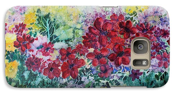 Galaxy Case featuring the painting Garden With Reds by Joanne Smoley