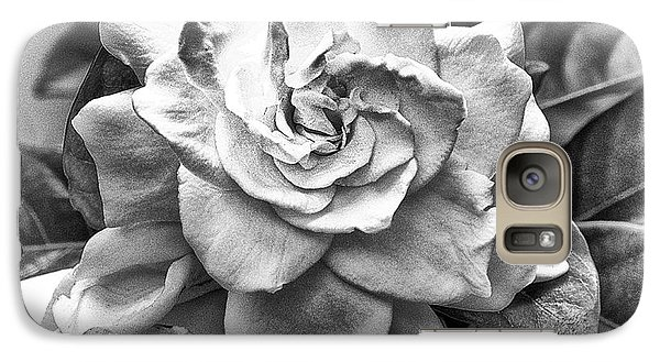 Galaxy Case featuring the photograph Gardenia Black And White by Barbara Middleton