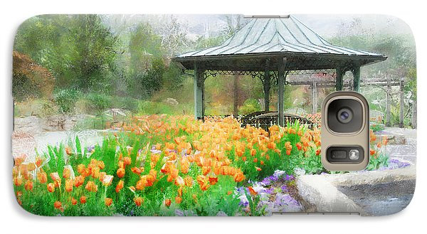 Galaxy Case featuring the digital art Gazebo With Tulips by Francesa Miller