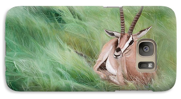 Galaxy Case featuring the painting Gazelle In The Grass by Joshua Martin