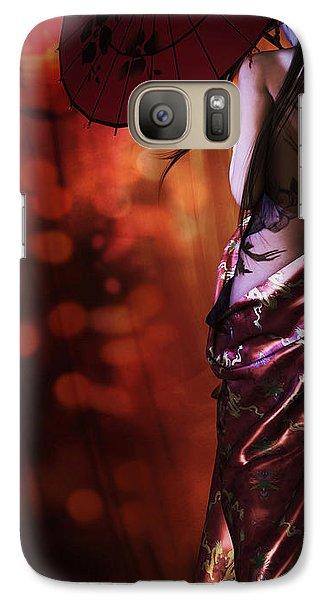 Galaxy Case featuring the digital art Geisha Gold Crop by Shanina Conway