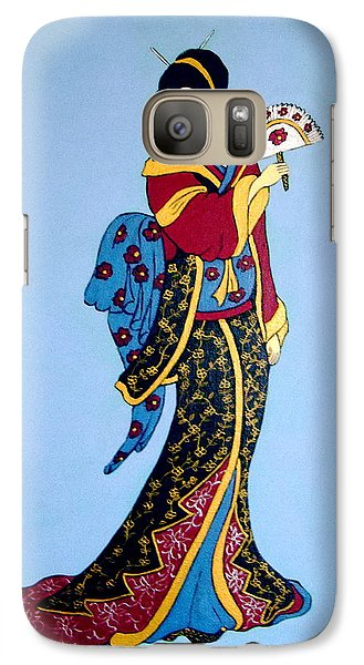 Galaxy Case featuring the painting Geisha With Fan by Stephanie Moore