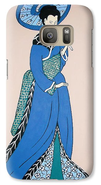 Galaxy Case featuring the painting Geisha With Parasol by Stephanie Moore