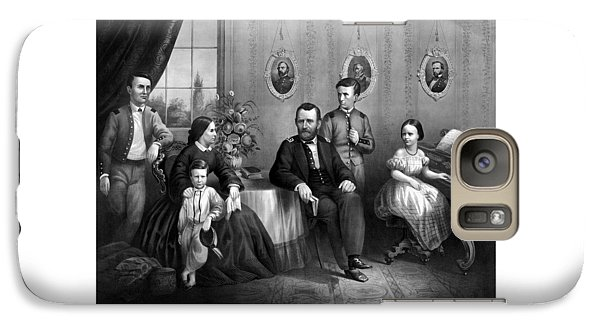 Galaxy Case featuring the mixed media General Grant And His Family by War Is Hell Store
