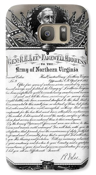 Galaxy Case featuring the mixed media General Robert E. Lee's Farewell Address To Confederate Soldiers by Daniel Hagerman