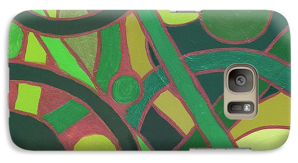 Galaxy Case featuring the painting Geometric Study Green On Copper by Ania M Milo
