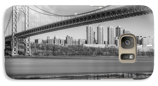 George Washington Bridge Nyc Reflections Bw Galaxy Case by Susan Candelario
