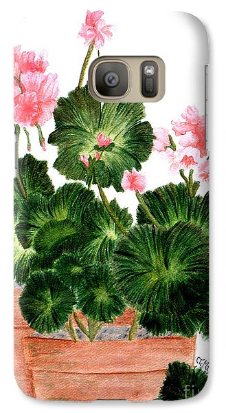 Galaxy Case featuring the painting Geraniums In Clay Pots by Terri Mills