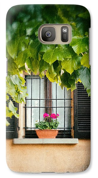 Galaxy Case featuring the photograph Geraniums On Windowsill by Silvia Ganora