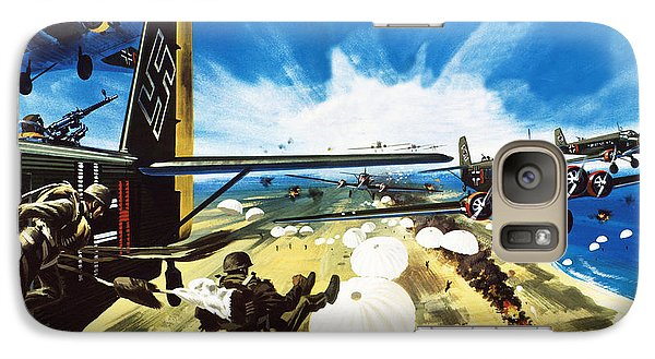 German Paratroopers Landing On Crete During World War Two Galaxy S7 Case by Wilf Hardy