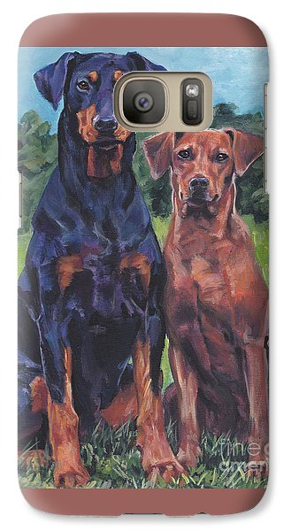 Galaxy Case featuring the painting German Pinschers by Lee Ann Shepard