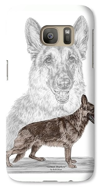 Galaxy Case featuring the drawing German Shepherd Art Print - Color Tinted by Kelli Swan