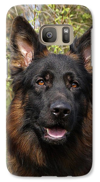 Galaxy Case featuring the photograph German Shepherd Close Up by Sandy Keeton