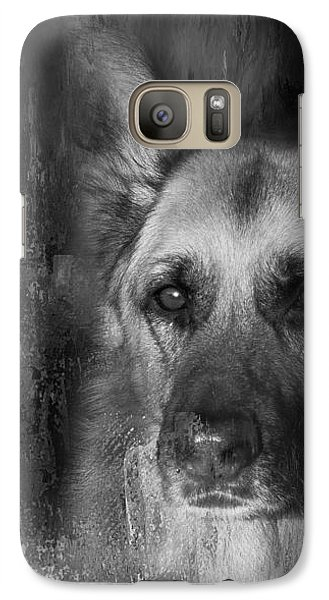 Galaxy Case featuring the photograph German Shepherd In Black And White by Eleanor Abramson