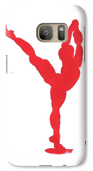 Galaxy Case featuring the painting Gesture Brush Red 1 by Shungaboy X