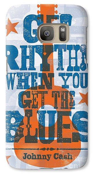 Johnny Cash Galaxy S7 Case - Get Rhythm - Johnny Cash Lyric Poster by Jim Zahniser