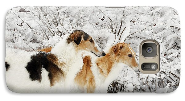 Galaxy Case featuring the photograph giant Borzoi hounds in winter by Christian Lagereek