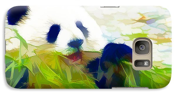 Galaxy Case featuring the painting Giant Panda Bear Eating Bamboo by Lanjee Chee