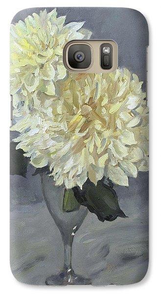 Giant White Dahlias In Wine Glass Galaxy S7 Case