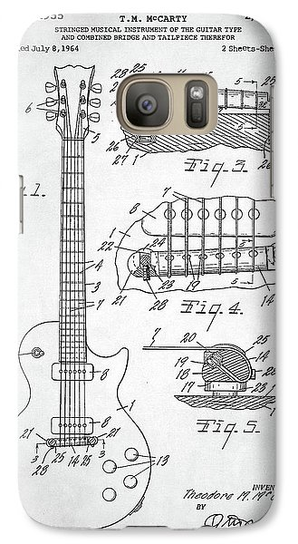 Galaxy Case featuring the digital art Gibson Les Paul Electric Guitar Patent by Taylan Apukovska