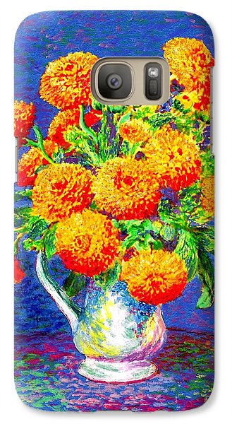 Galaxy Case featuring the painting Gift Of Gold, Orange Flowers by Jane Small