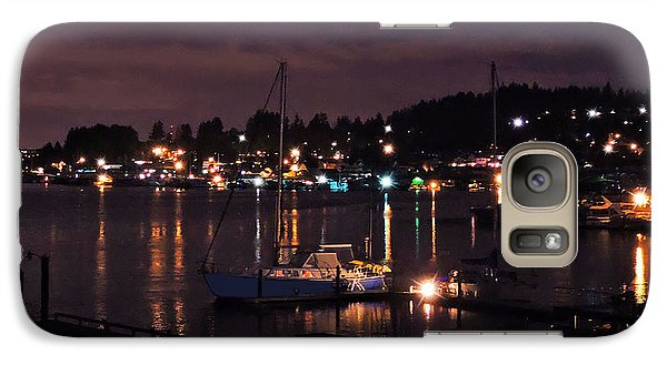 Galaxy Case featuring the photograph Gig Harbor At Night by Jack Moskovita