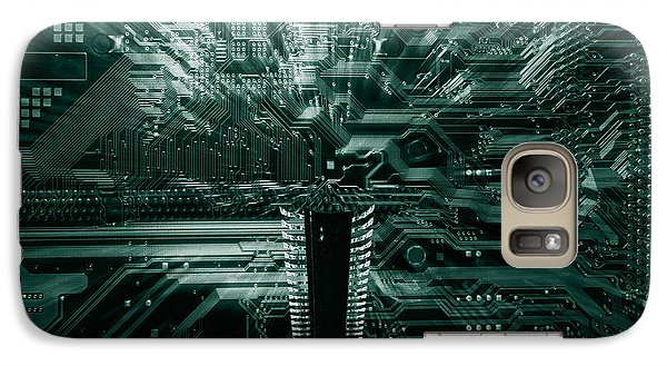 Galaxy Case featuring the photograph Ginat Microchip Hovering Above Circuit-board by Christian Lagereek