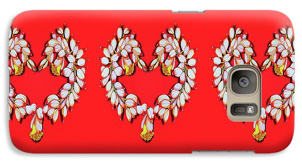 Galaxy Case featuring the painting Ginger Flower Hearts by Debbie Chamberlin