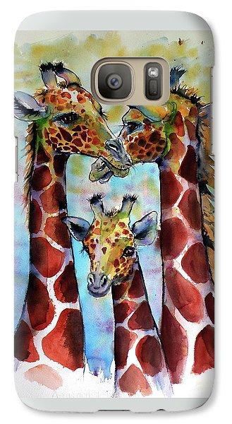 Galaxy Case featuring the painting Giraffe Family by Kovacs Anna Brigitta