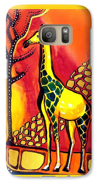 Galaxy Case featuring the painting Giraffe With Fire  by Dora Hathazi Mendes