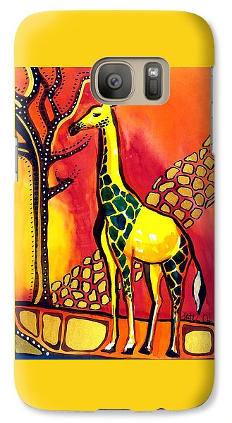 Giraffe With Fire  Galaxy S7 Case by Dora Hathazi Mendes